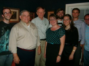 Richard Bushman poses with participants and interested observers of the 2012 summer seminar on Mormon culture